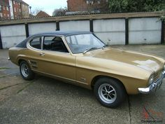 1972 Capri Gold with vinyl roof Classic Cars British, Car Insurance Rates, Ford Capri, Mk1, Cars And Motorcycles, Automobile, Vehicles, Gold, Autos