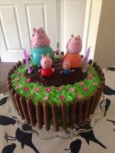 Peppa Pig muddy puddle cake Bolo Neked Cake, Tortas Peppa Pig, Peppa Pig Cakes, Peppa Pig Muddy Puddles, Peppa Pig Birthday Cake, 3rd Birthday, Birthday Ideas, Celebration Cakes, How To Make Cake