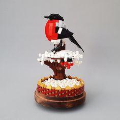 Lego Model : Bullfinch in the snow Lego Flower, Lego Animals, In The Zoo, Bullfinch, Lego Design, Bird Perch, Lego Models, Custom Lego, Lego Moc