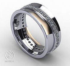 Diamond Concave Wedding Band