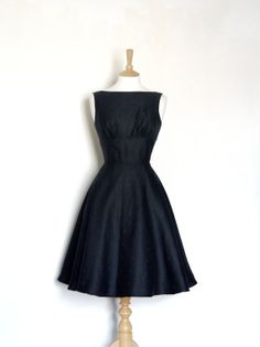 LBD...Jet Black Damask Tea Dress  Made to Measure  FREE by digforvictory, £150.00