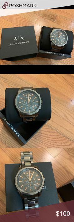 232f7776254a0 Armani Exchange men s dark grey chronograph watch Armani Exchange Men s  stainless steel watch. Dark grey