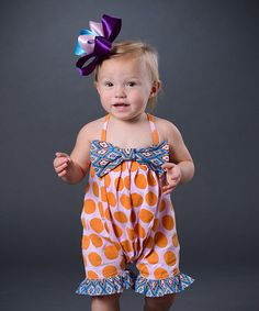 Orange & Purple Bow Bubble Romper - Infant #zulily #zulilyfinds