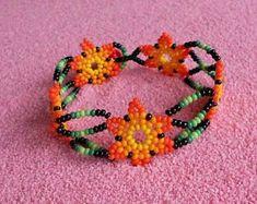 Huichol Beaded Bracelet / Huichol Jewelry/ Handmade Native Beadwork/ Mexican Folk Art Source by Seed Bead Jewelry, Seed Beads, Beaded Jewelry, Handmade Jewelry, Beaded Bracelets, Beaded Earrings Native, Native Beadwork, Beading Tutorials, Beading Patterns