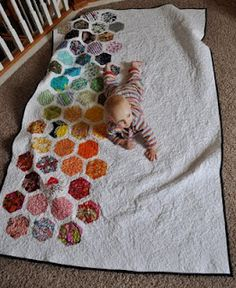 Modern hexagon quilt from We Shall Sew blog - maybe I could finish that wedding ring quilt like this and have it done.
