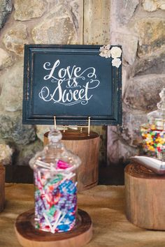 Rustic touch to this candy display - all about the details! {Leif Brandt Photography}