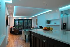 Kitchen LED tape installation with drop ceiling