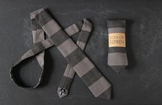 Handmade Block-Striped Denim Narrow Necktie.