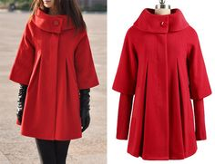 Red Cape Wool Coat Winter Woman Cloak Long Dress Coats Wool Cape Coat Jacket -WH001 XS-XL