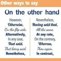 "Other ways to say ""on the other hand"""