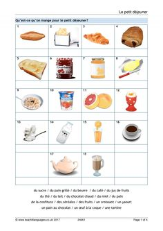 Use the Magnet interactive starter to introduce breakfast vocabulary and then move on to the worksheets. Vocabulary matching, picture crossword and paired speaking activity, with answers, are all included. French Worksheets, School Worksheets, French Lessons, Teaching French, French Food, Learn French, Food And Drink, Learning, Breakfast