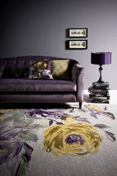 Velvet sofa. little blue deer: Grey + Lilac