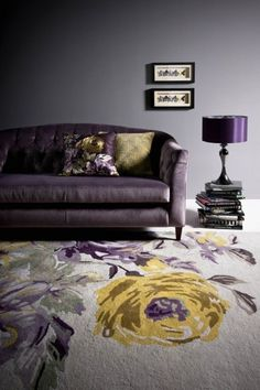 Velvet sofa. little blue deer: Grey + Lilac