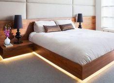Amazing Modern Floating Bed Design with Under Light Bedroom Bed Design, Bedroom Furniture Design, Bed Furniture, Modern Bedroom, Bedroom Decor, Bedroom Ideas, Master Bedroom, Modern Beds, Modern Bed Frames