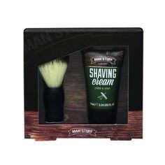 Man'Stuff Shaving Set A gift set that includes; 1 x 100ml Shaving Cream 1 x Shaving Brush - Vegan - Cruelty Free SALE Shaving Set, Shaving Brush, Shaving Cream, Close Shave, Man Stuff, Mens Gift Sets, Cruelty Free, Vegan, Bottle