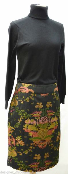 NEW CAbi Skirt  Style #737 Chinoiserie Black colorful Asian tapestry pencil sz 6