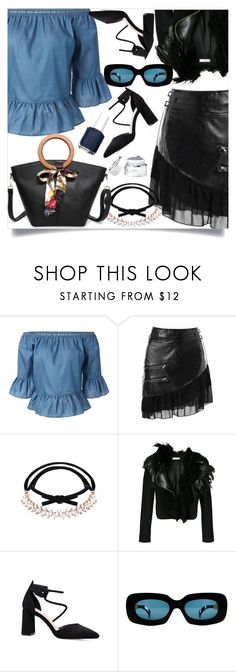 """Denim peplum blouse"" by nejra-l ❤ liked on Polyvore featuring Lanvin, Versace and Essie"