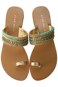 Gold and turquoise sandals by Star Mela