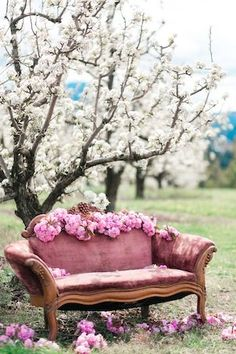 under the cherry blossom tree this is sooo beautiful! Pastel Cupcakes, Cherry Blossom Tree, Cherry Tree, Jolie Photo, Pretty In Pink, Love Seat, Fairy Tales, Wedding Decorations, Shabby Chic