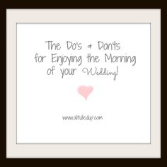 Tips for enjoying the morning of your wedding and keeping stress free!