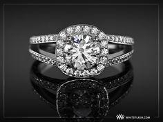 Splint Shank Halo Diamond Engagement Ring by WFDiamonds, via Flickr