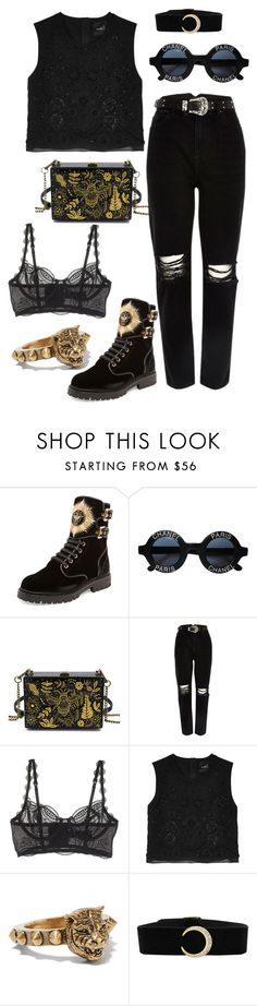 """Street style: back to black"" by veronicagnzlz on Polyvore featuring moda, Balmain, Chanel, River Island, Elle Macpherson Intimates, Needle & Thread y Gucci"