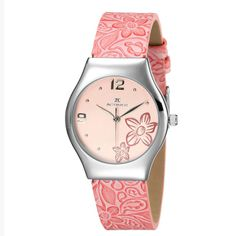 [$45.00] Cute Pink Flowers Teen Female Students Quartz Round Watch - Free Shipping