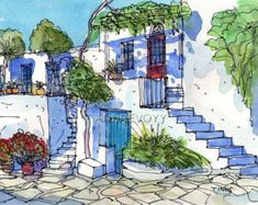 Tinos Square Griechenland drucken Sie aus einem original Aquarell