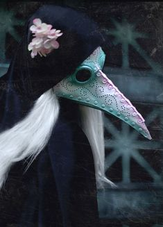Pearlescent Plague Doctor leather mask in white, pink and green Plague Mask, Plague Doctor Mask, Plague Dr, Fantasy Inspiration, Character Inspiration, Character Design, Beak Mask, Doctor Costume, Raven Costume