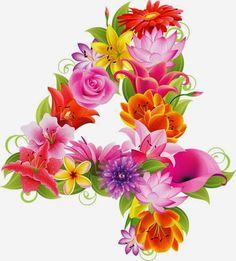 GIFS DE ABECEDARIOS Y LETRAS: Números con flores
