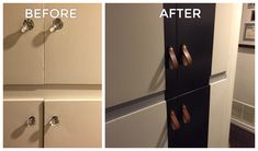 Customer Michelle did a terrific before and after of her hallway closet doors. Black paint and honey leather from our Hawthorne (Wide) pulls put a contemporary twist on a vintage door.
