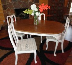 This is my idea of Shabby meets Rustic - The leather look top goes nicely with the creamy marshmellow white which is aged with mocha glaze - the chair cushion fabric was white and I painted Annie Sloan Chalk Paint Coco color on them - they turned out great, not stiff or crunchy, sort of like canvas.