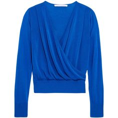 Diane von Furstenberg Wrap-effect cotton-blend sweater (€255) ❤ liked on Polyvore featuring tops, sweaters, wrap top, diane von furstenberg tops, blue sweater, blue top and wrap around sweater