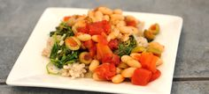 Mediterranean Beans With Greens Mediterranean Recipes, Recipe Of The Day, No Cook Meals, Family Meals, Vegetarian, Meal Ideas, Green, Beans, Vegan Recipes