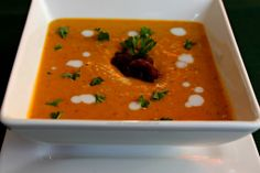 Virtual Vegan Potluck – Roasted Acorn & Butternut Squash Sweet Potato & Carrot Soup topped with Pureed Beets