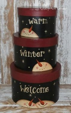 SNOWMAN Nesting Boxes Christmas WINTER WELCOME Primitive Country Home Decor   #NaivePrimitive #AHD