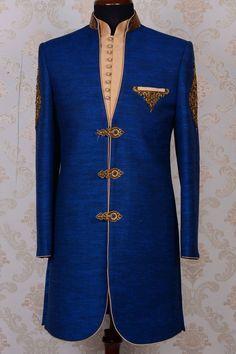 Indowestern Sherwani-Dark Blue-Zardosi Work-IW469