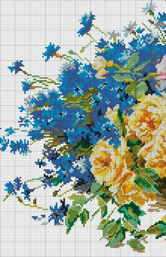 cross stitch pattern roses and cornflowers (1)