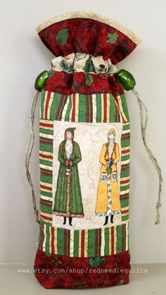 SALE: Wine Bottle Cozy  Quilted Drawstring Bag  by RedNeedleQuilts