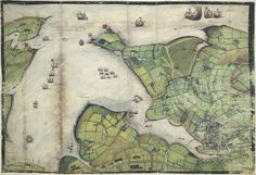 Lord Burghley's Atlas - caption: 'Coloured manuscript plan of Falmouth Haven, or Harbour.' by The British Library, via Flickr