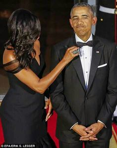 The First Lady Michelle Obama & President Obama at a White House State Dinner