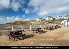 Picnic Benches - Bude, Cornwall-----In the summer these picnic benches are full but this was one of our rare sunny days this winter. Crooklets beach has all the amenities close at hand including car park, surf shops, café/shop, toilets and hire of beach paraphernalia.