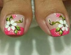 Collection of New Trends of Toe Nail Designs 2019 for Party occasions nails Photo Gallery for girls. Beautiful Toe Nail Designs Pictures 2019 for girls. Elegant Nail Designs, Elegant Nails, Nail Designs Spring, Pedicure Designs, Toe Nail Designs, Feet Nails, Toenails, Flower Nail Art, Toe Nail Art