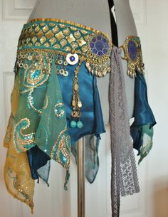 Belly Dance Belt Atlantis Size M 36/ 91 cm by siphonophoria, $225.00