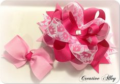 Girls hair accessory, clip, bow or headband- Combo - Matching bow for doll or puppy on Etsy, $14.00