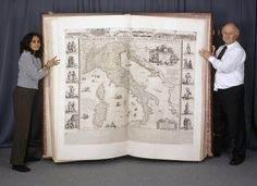 """I'll show you my atlas if you show me yours. penamerican: """" """" Staff from the British Library map collections displaying a page from the metres tall Klencke Atlas which was made in 1660 """" """" Old Books, Antique Books, Book Art, Medieval Books, Bound Book, British Library, Book Binding, I Love Books, Book Authors"""