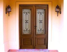 P101i q puerta doble de entrada de madera con reja de - Puertas de hierro para exterior ...