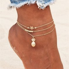 Chain Pineapple Pendant Anklet Beaded 2018 Summer Beach Foot Jewelry Fashion Style Anklets for Women Ankle Jewelry, Cute Jewelry, Jewelry Accessories, Women Jewelry, Fashion Jewelry, Bridal Jewelry, Teen Accessories, Shell Jewelry, Bohemian Jewelry