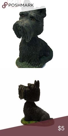 """scottish terrier schnauzer mini bobblehead figure The Scottish Terrier mini Bobble Head Nodder dog is seated on a patch of green grass. Its intelligent brown eyes look out from beneath bushy brows.  The mini bobble head Scottish Terrier dog is approximately 3"""" tall. The dog's bobble head is spring activated. The bobble head dog is a collectible item and is not recommended for small children. It is part of a collection of dogs called """"My Best Friends"""" by Swibco. swibco Other"""