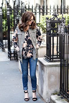 Kind of love everything about this look. floral fatigue | via withach.com